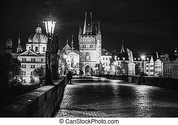 Night on Charles Bridge in Prague
