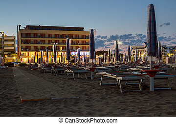 night on the sandy beach in Italy