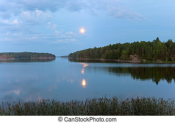Night over Ladoga lake