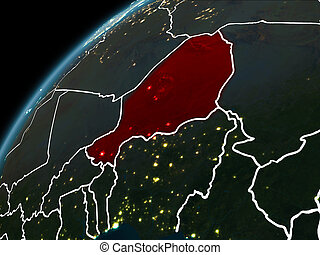 Night over Niger - Niger in red on planet Earth at night...