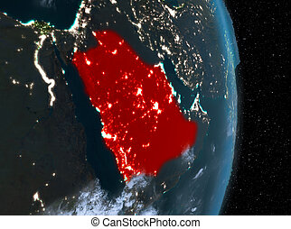 Night over Saudi Arabia on Earth