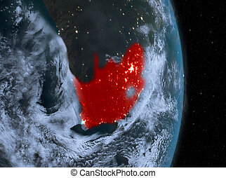 Night over South Africa on Earth