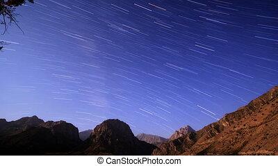 Night over the mountains. Line. Tajikistan, Iskander-Kul. Time Lapse. 4K