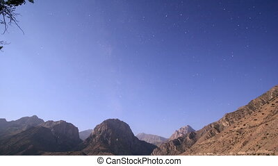 Night over the mountains. Tajikistan, Iskander-Kul. Time Lapse