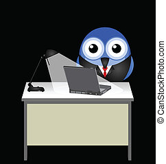 Night Owl - Employee working late at his desk by lamplight