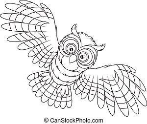 Night owl flying - Black and white vector illustration of an...