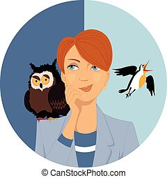 Night owl or morning lark? - Portrait of a pensive woman, an...