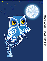 Night Owl Writer - Night Owl-writer, moon with letters,...