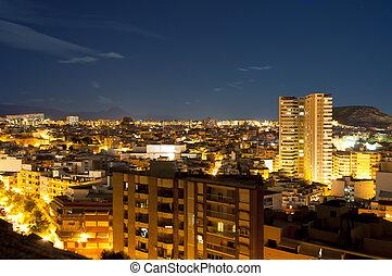 Night panorama city Alicante