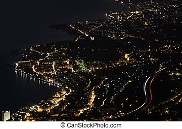 Night panorama Montreux, Vevey and swiss riviera from Caux, Switzerland