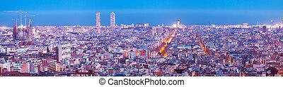 night panorama of Barcelona