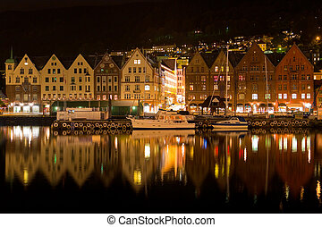 Night panorama of Bergen, Norway
