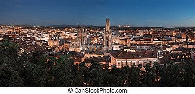 Night panorama of Burgos medieval city, Castilla y Leon, Spain.