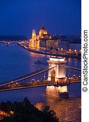 Night panorama of Chain Bridge and parliament