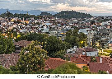 Night Panorama of city of Plovdiv, Bulgaria