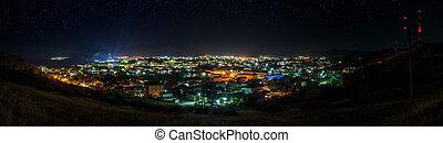 Night panorama of city Sudak, Crimea