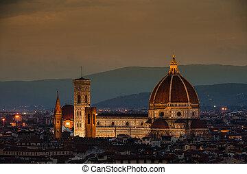 Night panorama of Florence. View ot top. - Night panorama of...