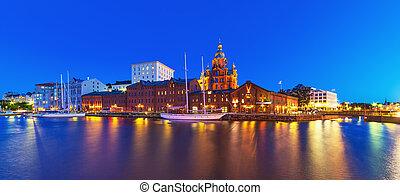 Night panorama of Helsinki, Finland