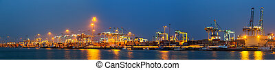night panorama of Industrial seaport