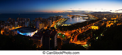 Night panorama of Malaga