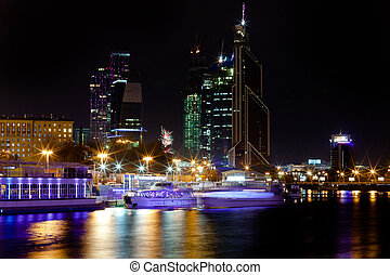 night panorama of Moskva River with Moscow city