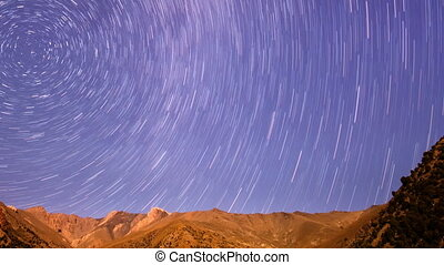 Night panorama of mountains. Line. Time Lapse