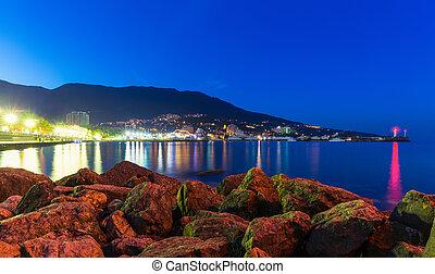 Night panorama of Yalta, Crimea, Ukraine