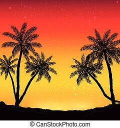 Night panorama on the background of the beach with palm trees