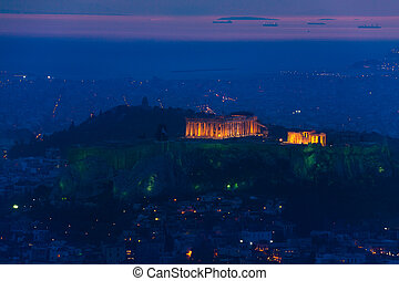 Night panorama, Parthenon temple, Athens in Greece
