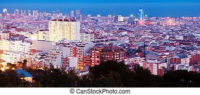 night panorama view of Barcelona