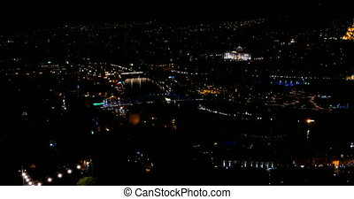 Night panorama view of Tbilisi capital of Georgia country....