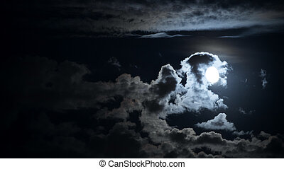 night panoramic cloudscape with moon
