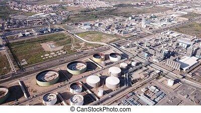 Night panoramic view of large chemical plant at Tarragona, Spain