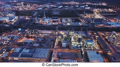 Night panoramic view of large chemical plant