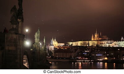 Night panoramic view of Prague city - Night panoramic scenic...