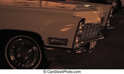 Night Parked Old Car - Retro beautiful old car, waiting in...
