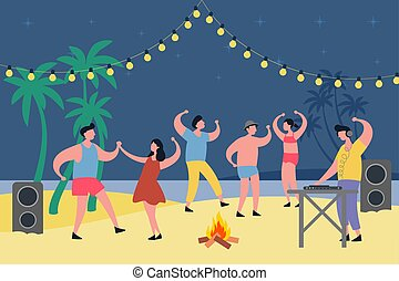 Night party at tropical beach. People dancing