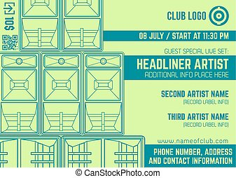 night party music concert horizontal flyer template