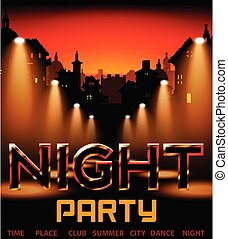 Night Party With City On Background With Spotlight