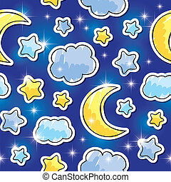 seamless pattern with night sky, stars, clouds and moons