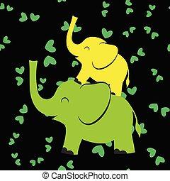 night pattern with elephants