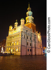 Night photo of beautiful historical city hall in Poznan, Poland