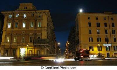 Night Piazza Venezia and Via del Corso in Rome, Italy.