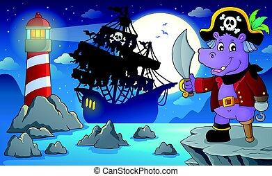 Night pirate scenery illustration.
