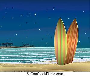 night., plage, comités surf, vector.