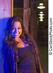 Night Portrait of Pretty Mixed Race Young Adult Woman