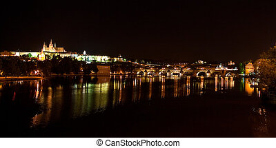 Night Prague panorama