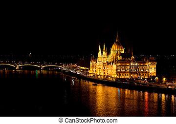 night., predios, parlamento, budapest