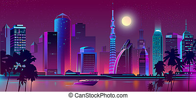 night purple city, river with boat