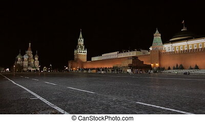 Night Red Square Kremlin  St. Basil's Cathedral